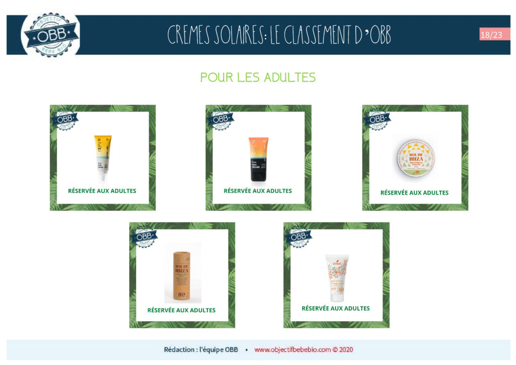 CREMES SOLAIRES 18 ADULTES